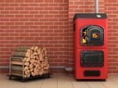 Solid fuel boiler. Boiler room — Stock Photo
