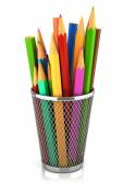 Colored pencils in basket isolated on white background — Stock Photo