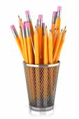 Graphite pencils in basket isolated on white background — Stock Photo