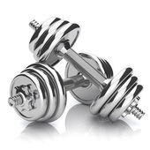 Kit of chromed sports dumbbells — Stock Photo
