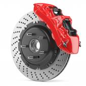 Automobile brake disk and red caliper — Stock Photo