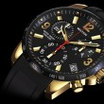 Golden wrist watch close — Stock Photo #80561236