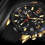 Golden wrist watch close — Stock Photo #80561238