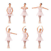 Collage of the positions of classical ballet — Stock Photo