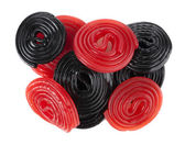 Red and black licorice wheels — Stockfoto