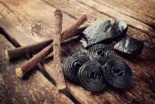 Production steps of licorice, roots, pure blocks and candy. — Stok fotoğraf