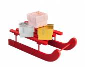 Wooden red sled with gift boxes — Stock Photo