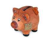Small clay piggy bank — Stock Photo