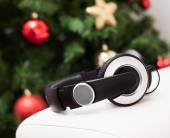 Headphones with christmas tree. — Stock Photo