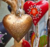 Heart hand decorated in Christmas style. — Stock Photo