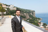 Young Italian groom before marriage in Sorrento peninsula. — Stock Photo