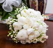 Bridal bouquet with white peonies. — Stock Photo