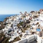 Oia village, Santorini, view with windmills — Stock Photo #62438943