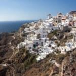 Oia village, Santorini, view with windmills — Stock Photo #62439561