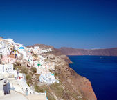 View on Oia village, Santorini Island. — Stock Photo