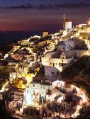 Oia village by night in Santorini island — Stock Photo