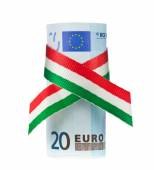 Twenty euro rolled with tricolor ribbon — Stock Photo