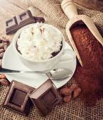 Cup of hot chocolate with whipped cream — Stock Photo
