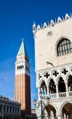 Campanile bell tower and architecture detail of Doges Palace — Stock Photo
