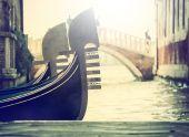Typical gondolas in venice — Stock Photo