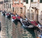 Row of empty gondolas. — Stock Photo