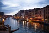 View from Rialto bridge of Venice by night. — Stock Photo
