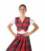 Teenager dressed with typical clothes red plaid — Foto de Stock