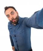 Selfie of a young man with wow expression — Stock Photo