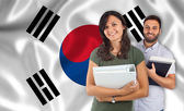 Students over south Korean flag — Stock Photo
