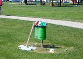 Trash bin full in an outdoor park — Stock Photo