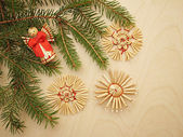Christmas background with fir branches and toys — Stockfoto