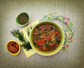 Vegetarian soup with tomatoes and beans mung. — Stock Photo