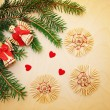Christmas background with fir branches and toys — Stock Photo #60168031