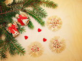 Christmas background with fir branches and toys — Stock Photo