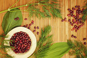 Background for vegetarian menu with beans and greens. — Stock Photo