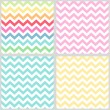Set of four primitive retro seamless chevron patterns — Stock Vector #53824369