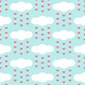 Cute baby retro seamless background as clouds with drops hearts — ストックベクタ