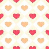 Primitive retro seamless background with hearts in square cells — Stock Vector