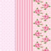 Set of three retro patterns in shabby chic style — Vector de stock