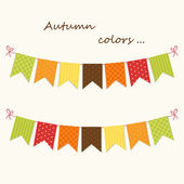 Festive vintage garlands with bunting flags — ストックベクタ