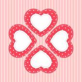Cute vintage frame in shabby chic style as fabric applique of polka dot heart — Vector de stock