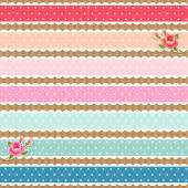 Colorful fabric polka dot ribbons and shabby chic roses — Vector de stock