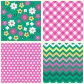 Set of four retro seamless patterns — Stock Vector