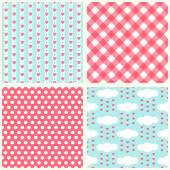 Set of four primitive retro seamless patterns — Stock Vector