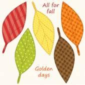 Cute handmade autumn leaves — Stock Vector