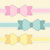 Conjunto de arcos de bolinhas de tecido retrô — Vetor de Stock