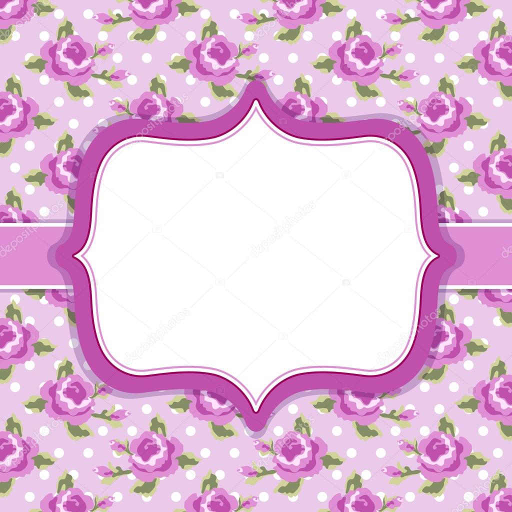 Frame in shabby chic style on roses background — Stock ...