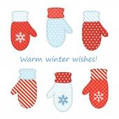 милые пары рукавиц как ретро аппликация ткани — Cтоковый вектор
