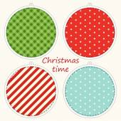 Christmas labels in shabby chic style as retro applique — Stock Vector