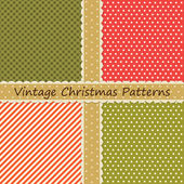Set of four vintage primitive Christmas patterns — Stock Vector